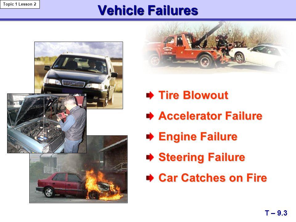 Vehicle Failures Tire Blowout Accelerator Failure Engine Failure