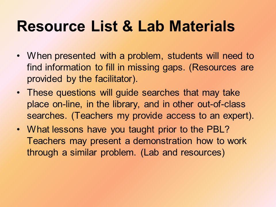 Resource List & Lab Materials