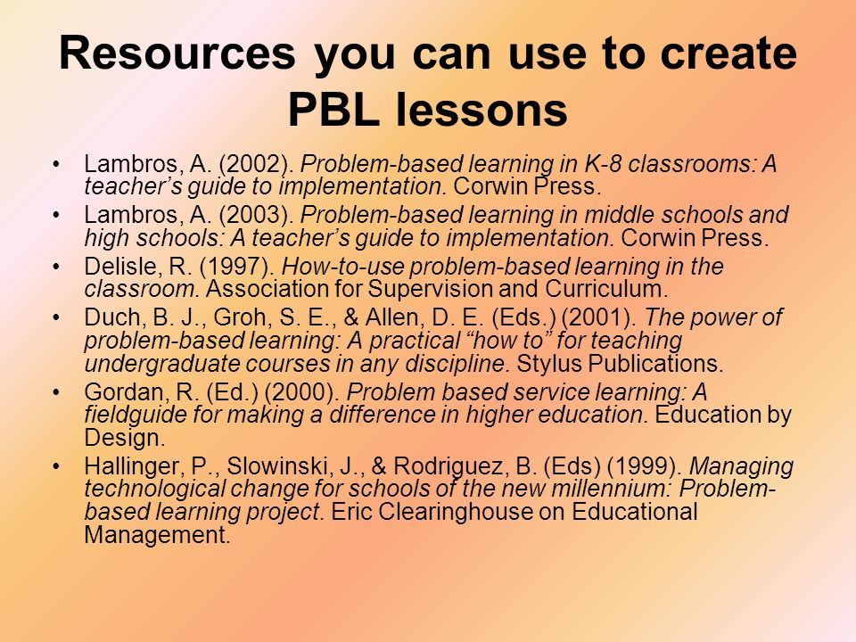 Resources you can use to create PBL lessons