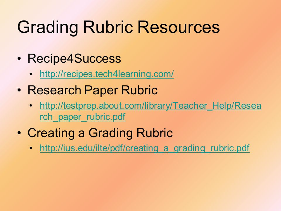 Grading Rubric Resources
