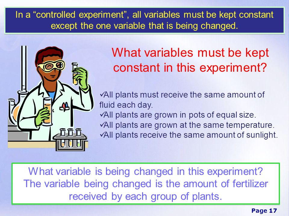What variables must be kept constant in this experiment