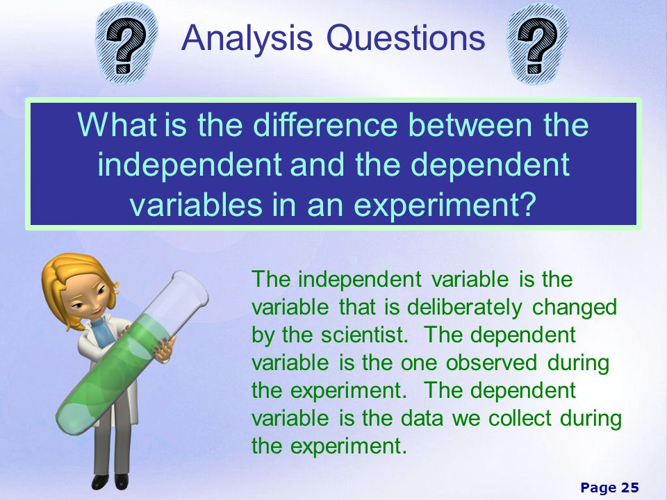 an analysis of the topic of the variables and the experiment Paper airplanes & scientific methods what is already known about the topic dependent variable you need to repeat the experiment several times.