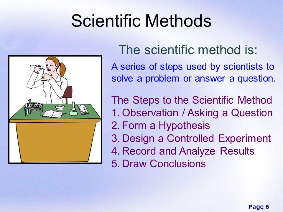 Scientific Methods The scientific method is: