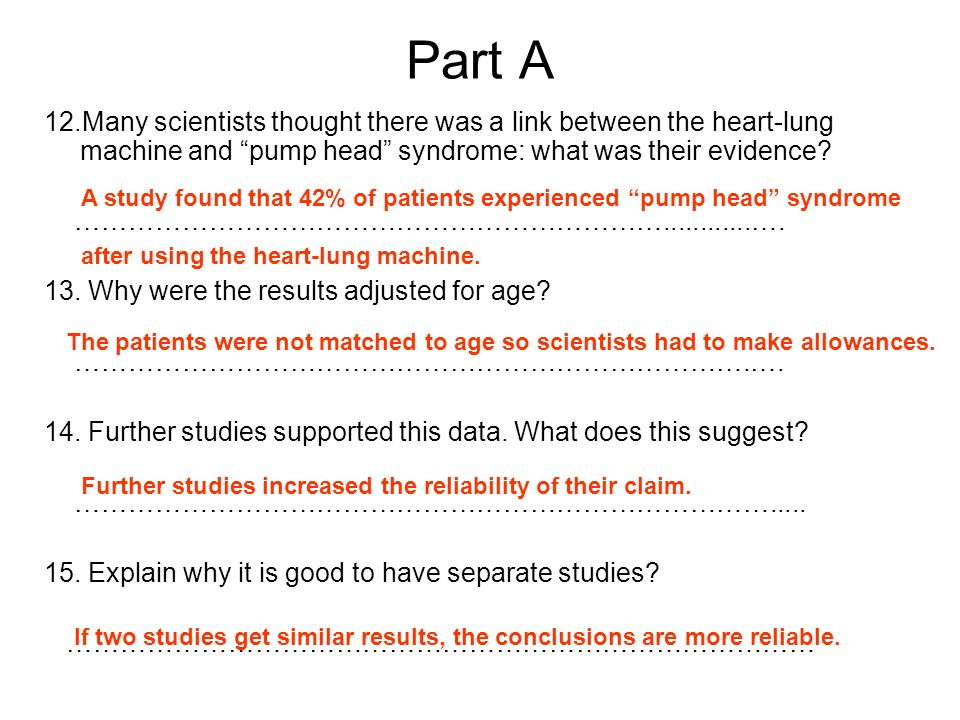 Part A 12.Many scientists thought there was a link between the heart-lung machine and pump head syndrome: what was their evidence