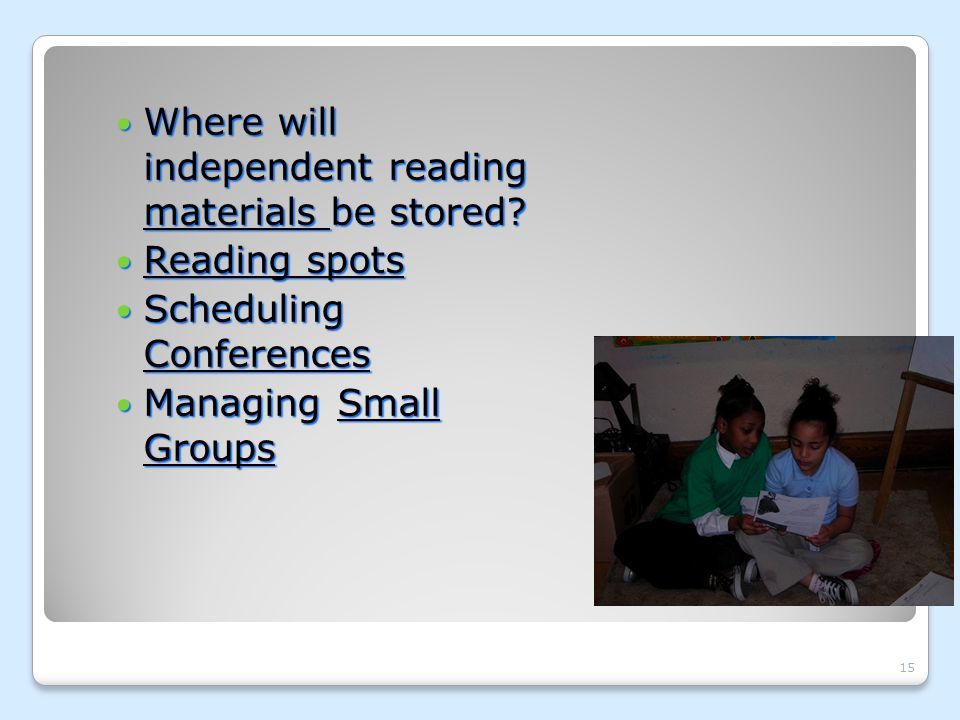 Where will independent reading materials be stored