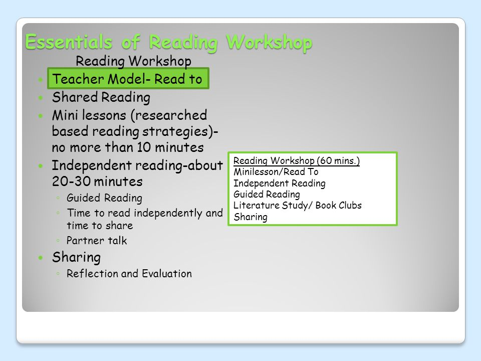 Essentials of Reading Workshop