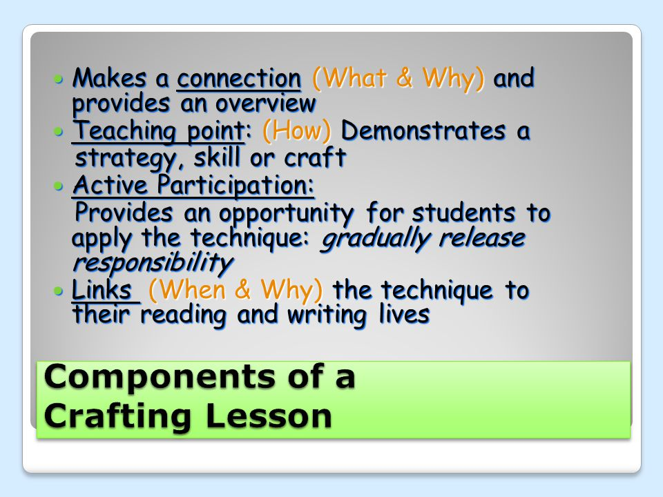 Components of a Crafting Lesson