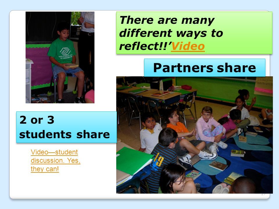 Partners share There are many different ways to reflect!!'Video