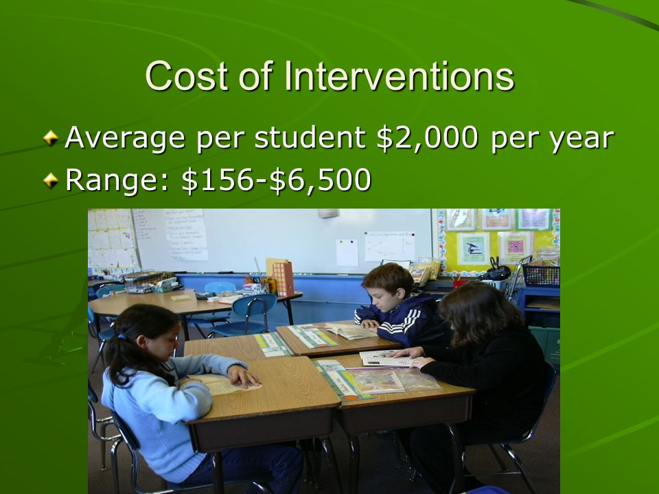 Cost of Interventions Average per student $2,000 per year