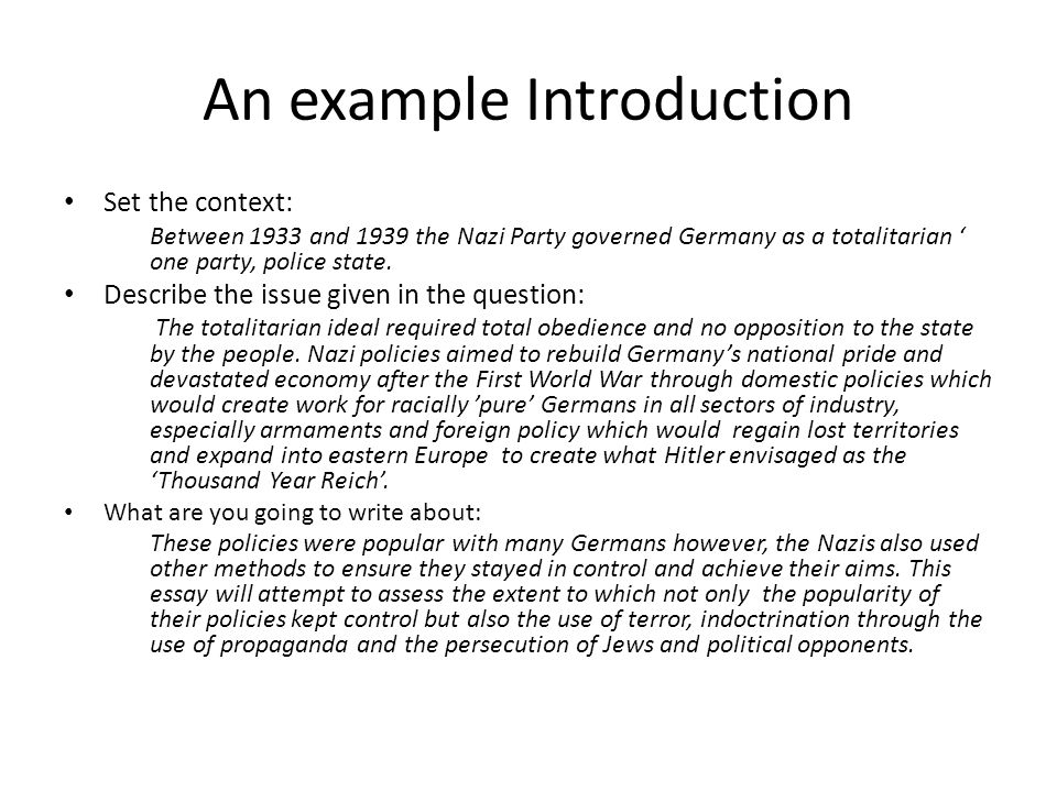 nazis in power essays to write a good essay it is really important  4 an example introduction