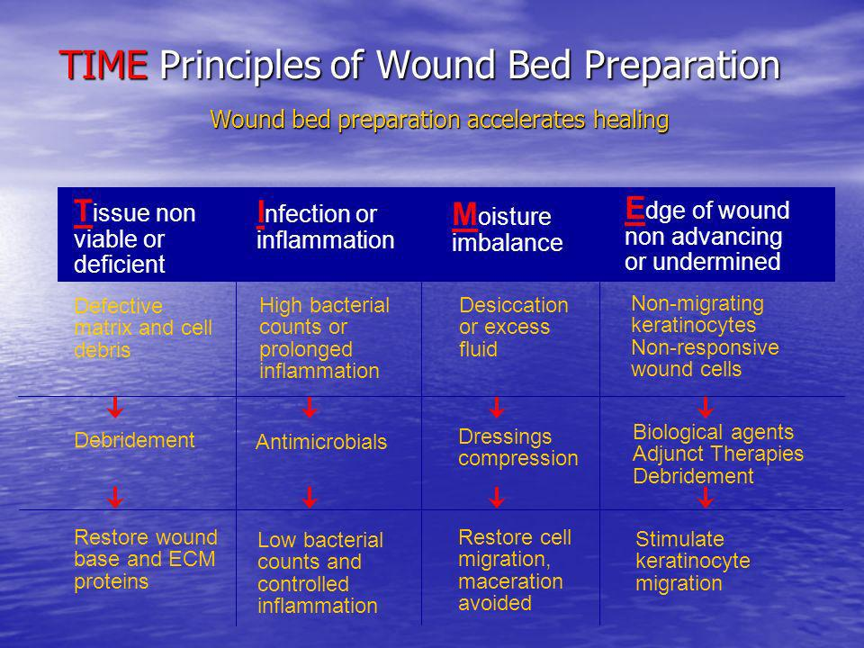 TIME Principles of Wound Bed Preparation Wound bed preparation accelerates healing
