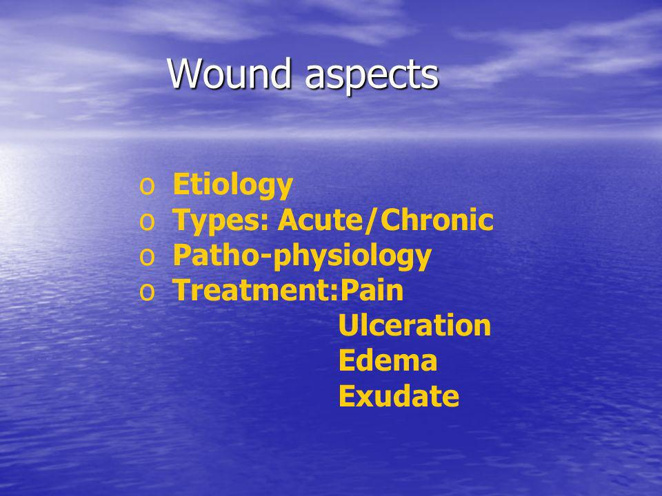 Wound aspects Etiology Types: Acute/Chronic Patho-physiology