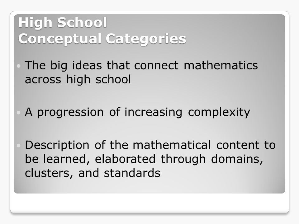 High School Conceptual Categories