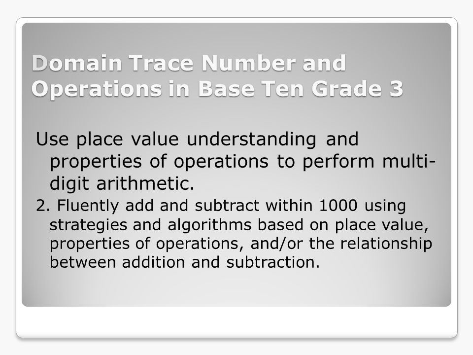Domain Trace Number and Operations in Base Ten Grade 3