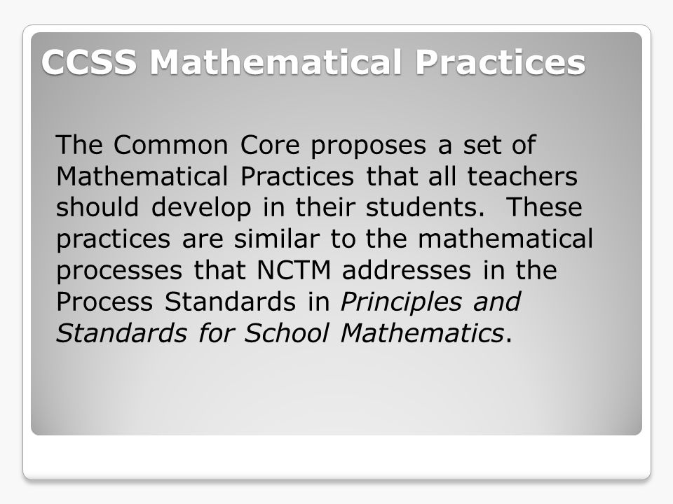 CCSS Mathematical Practices