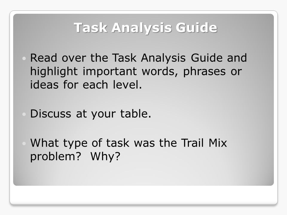 Task Analysis Guide Read over the Task Analysis Guide and highlight important words, phrases or ideas for each level.