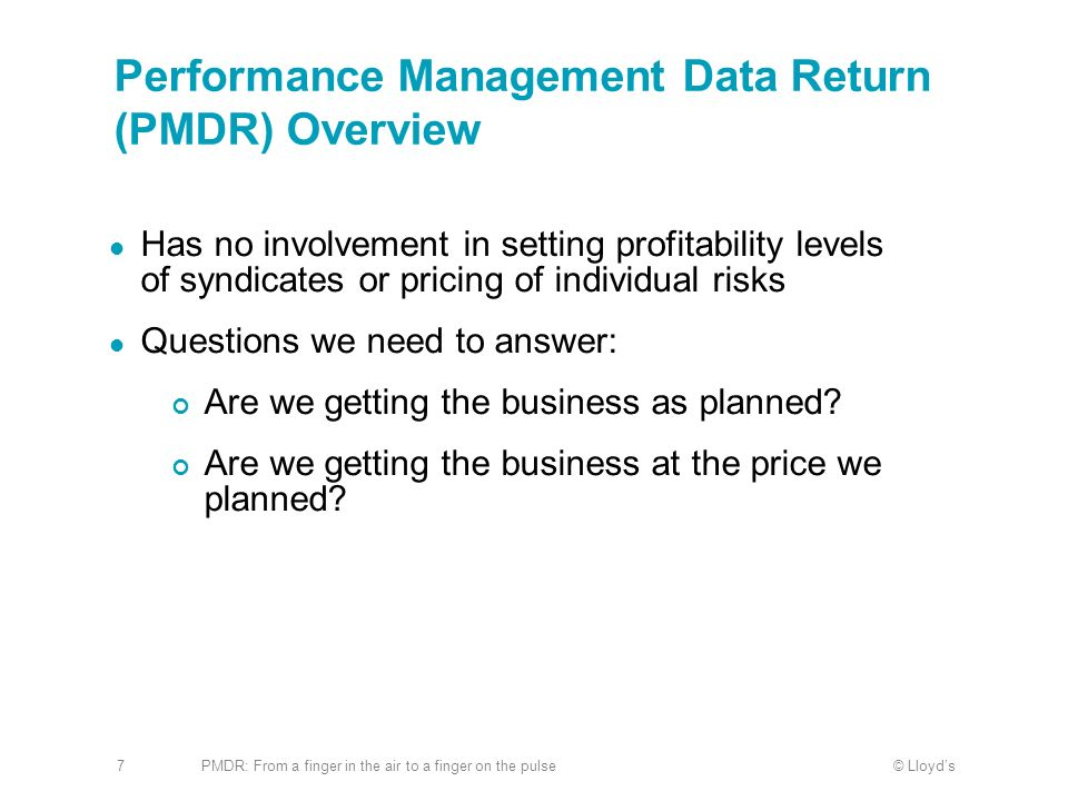 Performance Management Data Return (PMDR) Overview