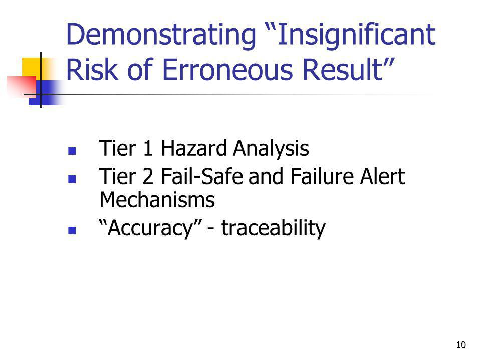 Demonstrating Insignificant Risk of Erroneous Result
