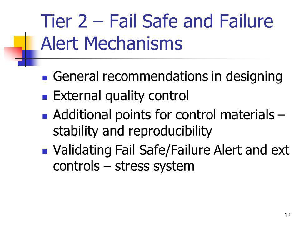 Tier 2 – Fail Safe and Failure Alert Mechanisms