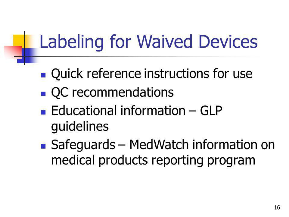 Labeling for Waived Devices