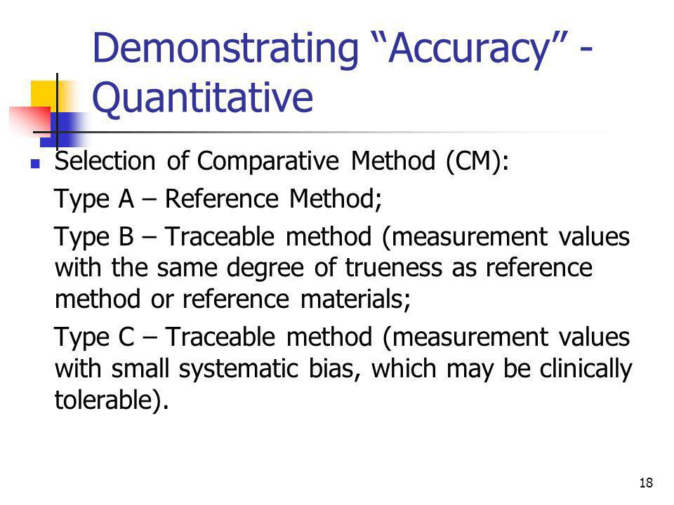 Demonstrating Accuracy -Quantitative