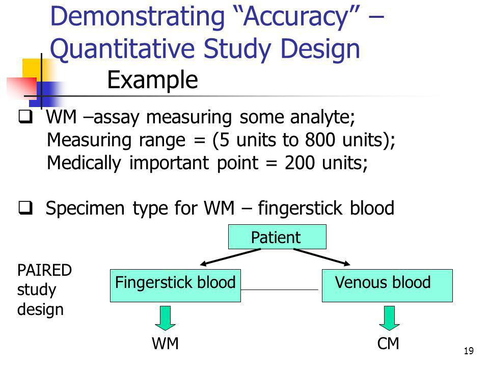 Demonstrating Accuracy – Quantitative Study Design