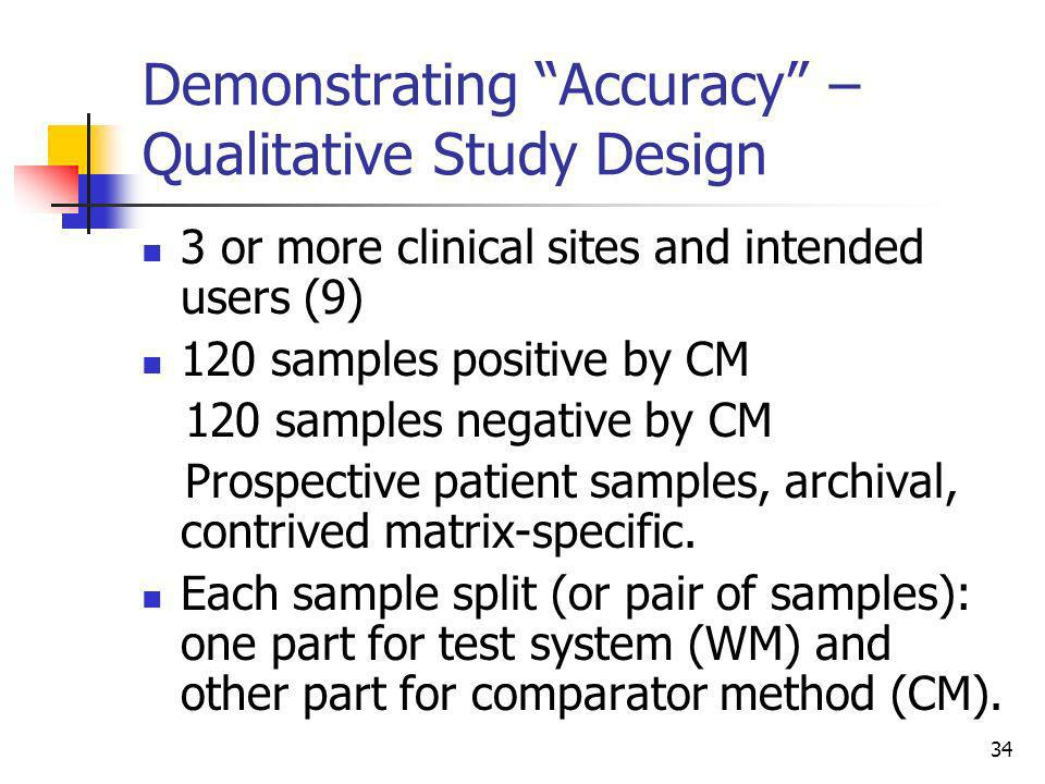 Demonstrating Accuracy – Qualitative Study Design