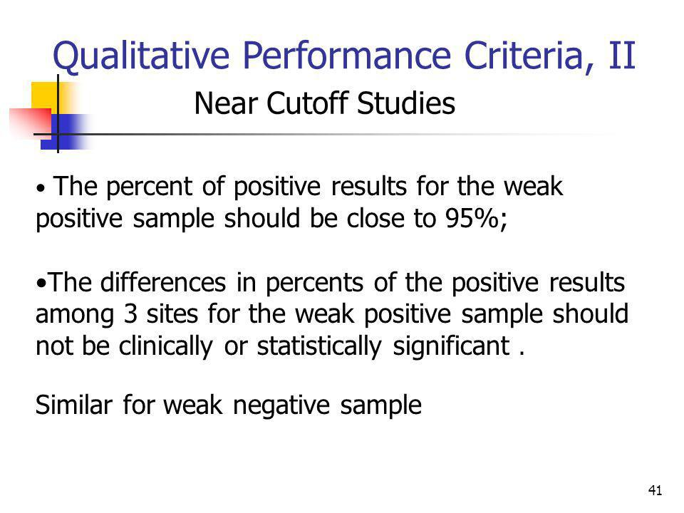 Qualitative Performance Criteria, II