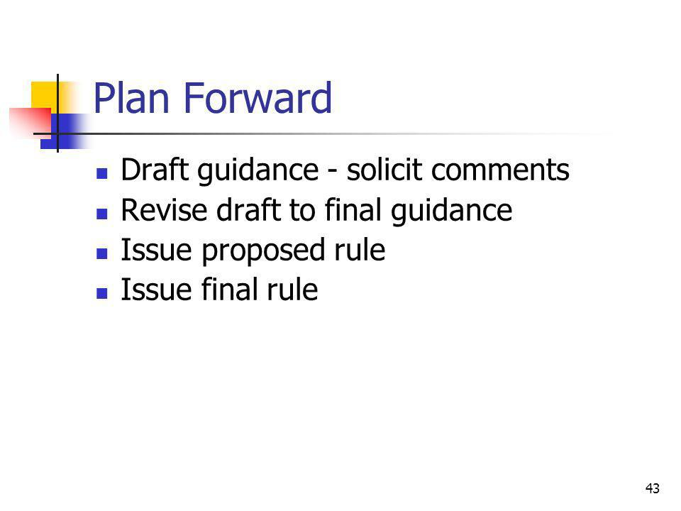 Plan Forward Draft guidance - solicit comments