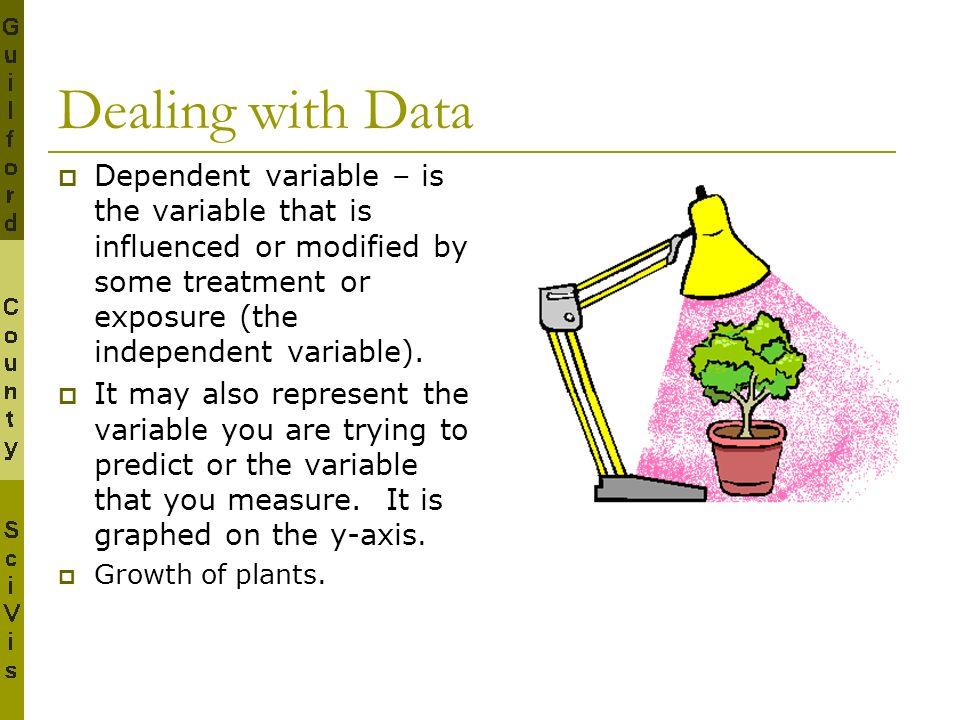 Dealing with Data Dependent variable – is the variable that is influenced or modified by some treatment or exposure (the independent variable).