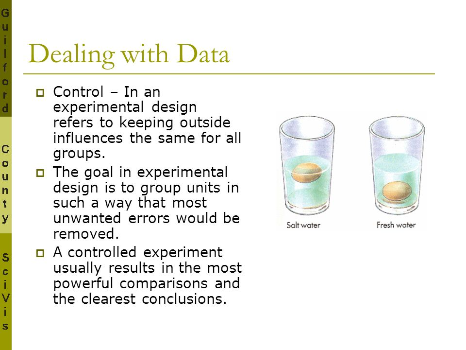 Dealing with Data Control – In an experimental design refers to keeping outside influences the same for all groups.