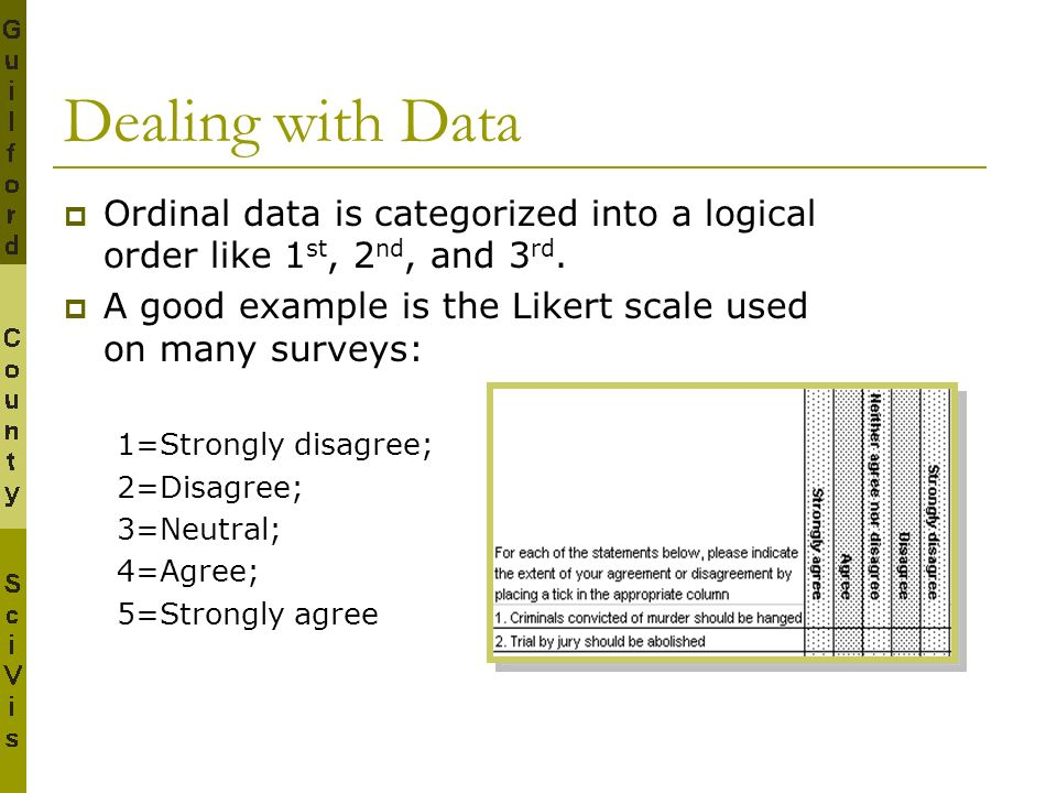 Dealing with Data Ordinal data is categorized into a logical order like 1st, 2nd, and 3rd. A good example is the Likert scale used on many surveys: