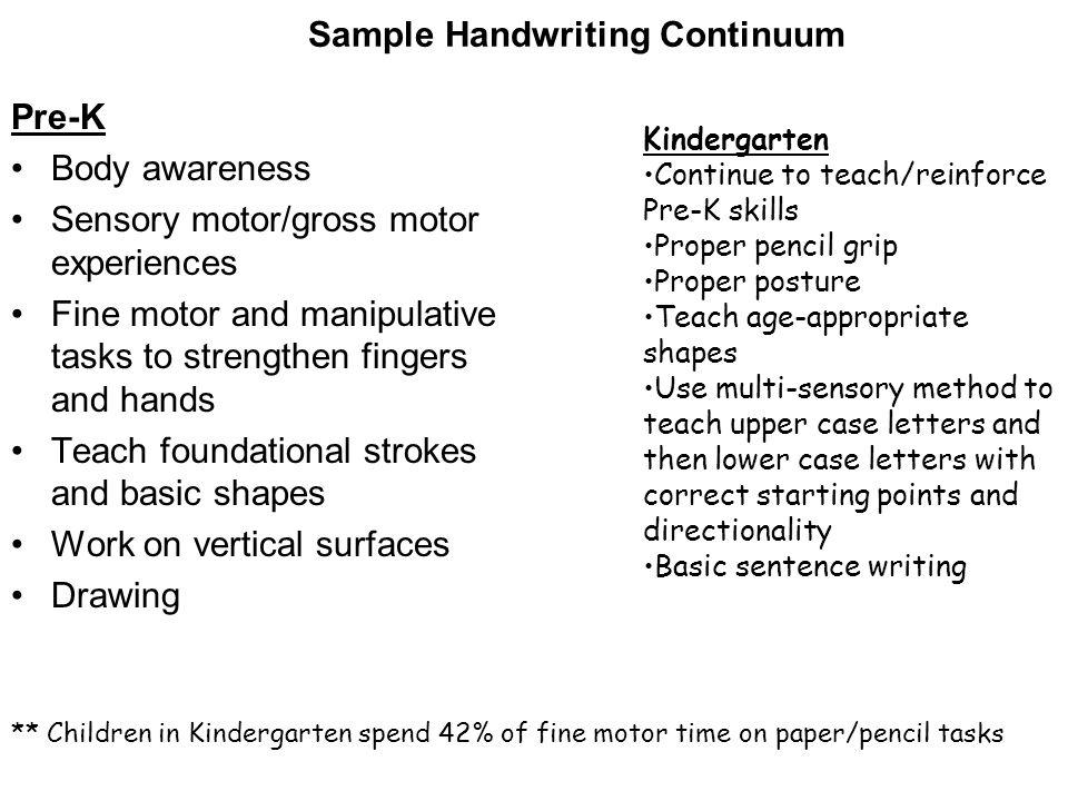 Sample Handwriting Continuum