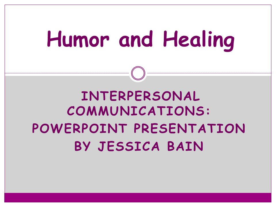 Interpersonal Communications: PowerPoint Presentation By Jessica BaiN