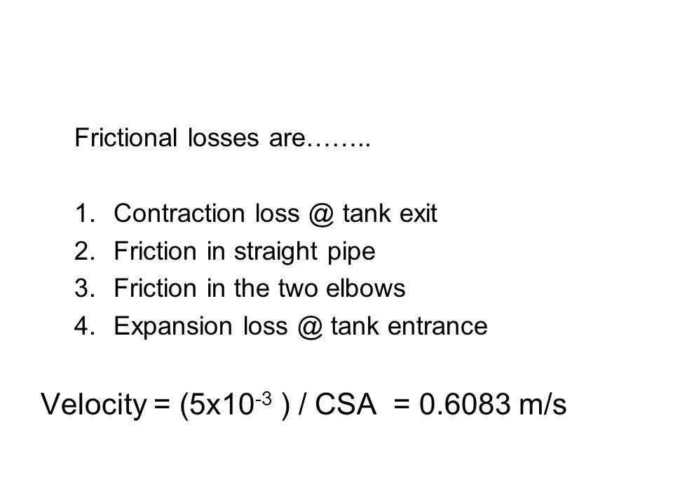 Velocity = (5x10-3 ) / CSA = 0.6083 m/s