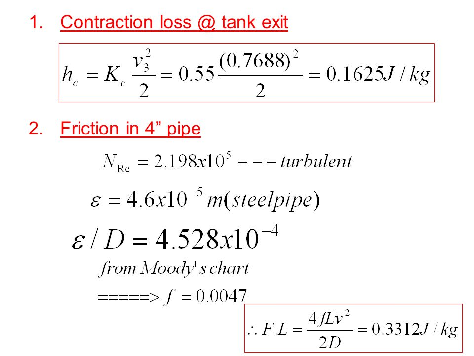 Contraction loss @ tank exit