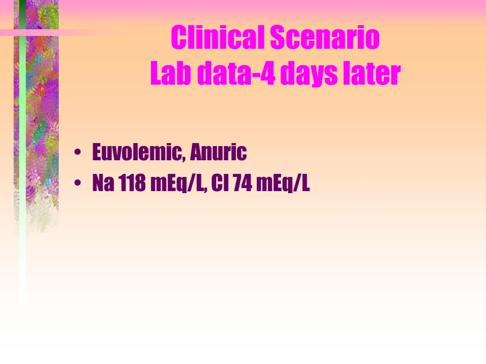 Clinical Scenario Lab data-4 days later