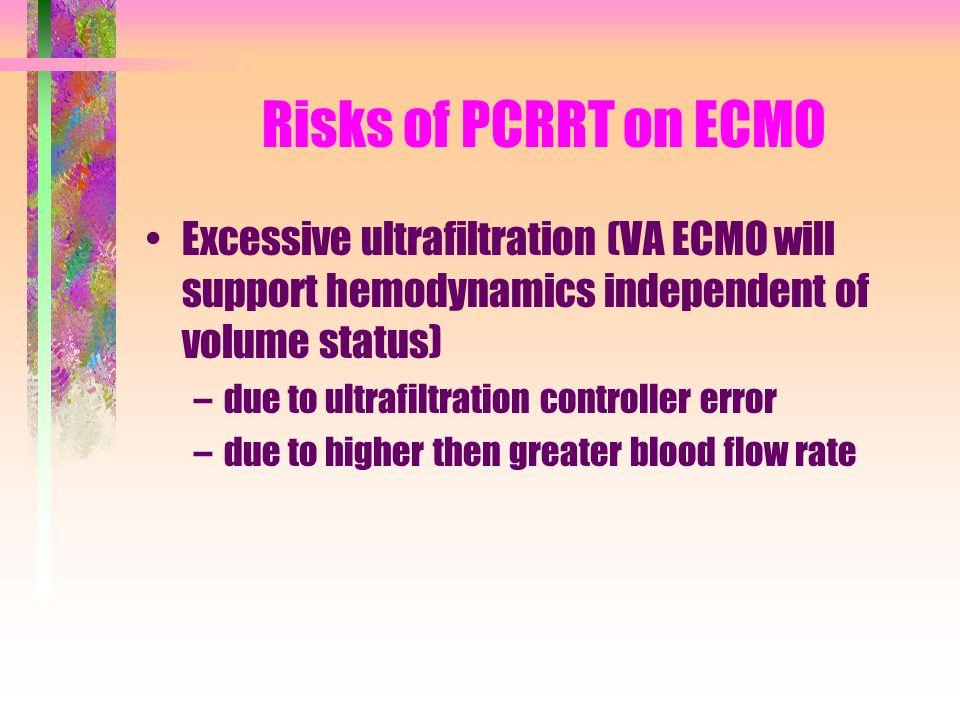Risks of PCRRT on ECMO Excessive ultrafiltration (VA ECMO will support hemodynamics independent of volume status)
