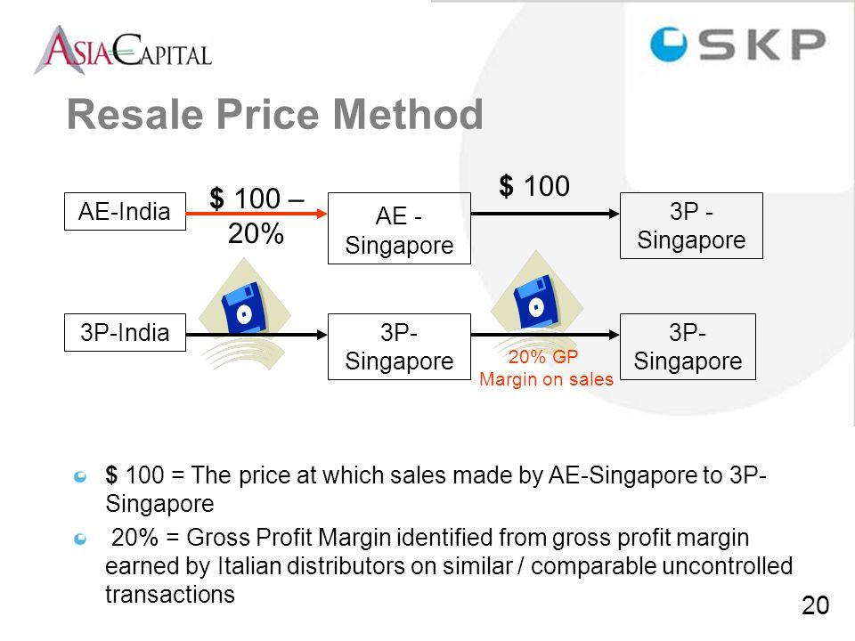 Resale Price Method $ 100 $ 100 – 20% AE-India AE - Singapore