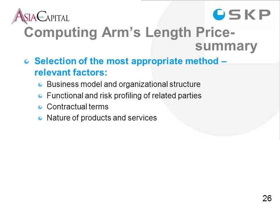 Computing Arm's Length Price- summary