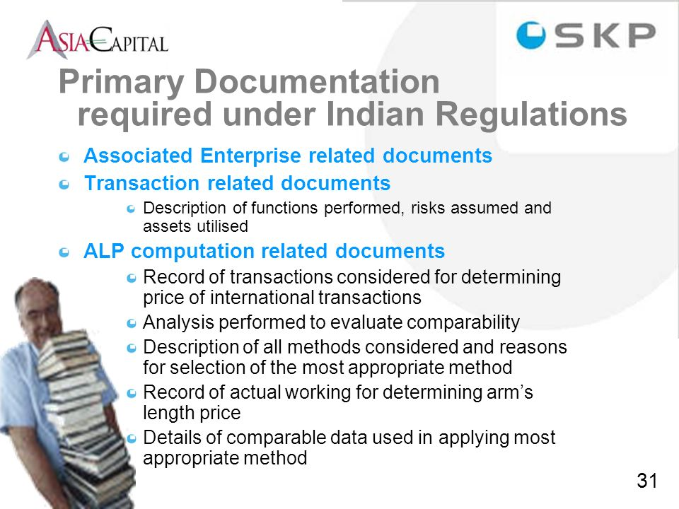 Primary Documentation required under Indian Regulations