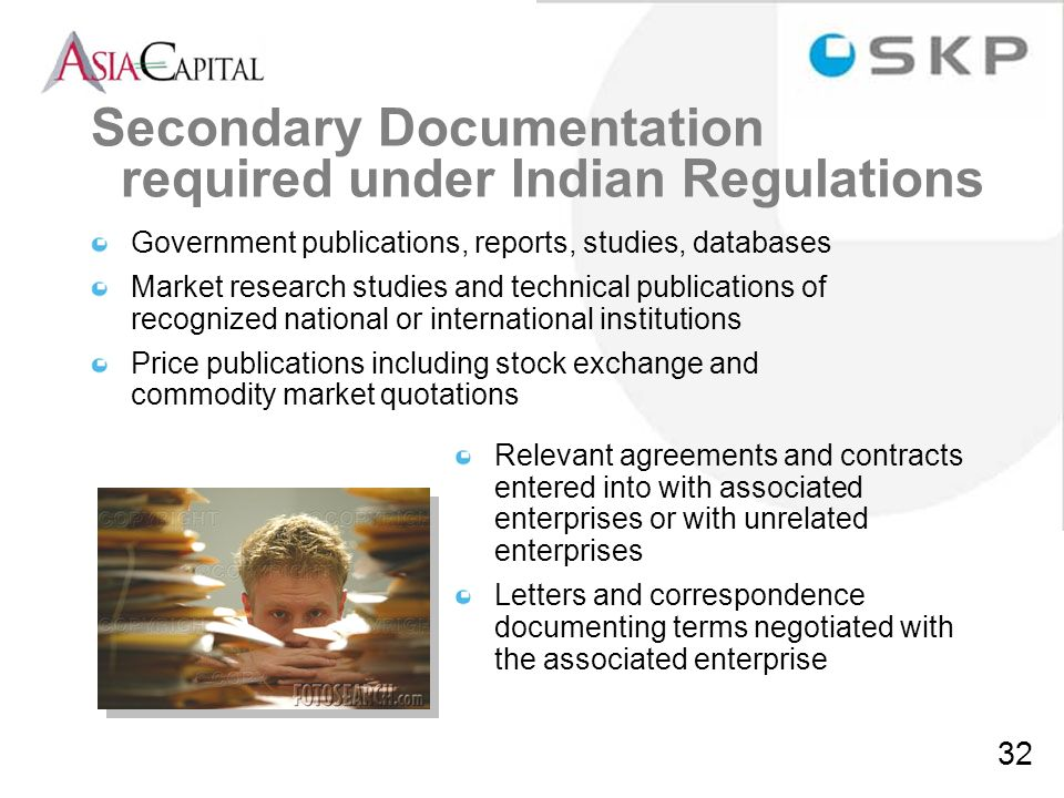 Secondary Documentation required under Indian Regulations
