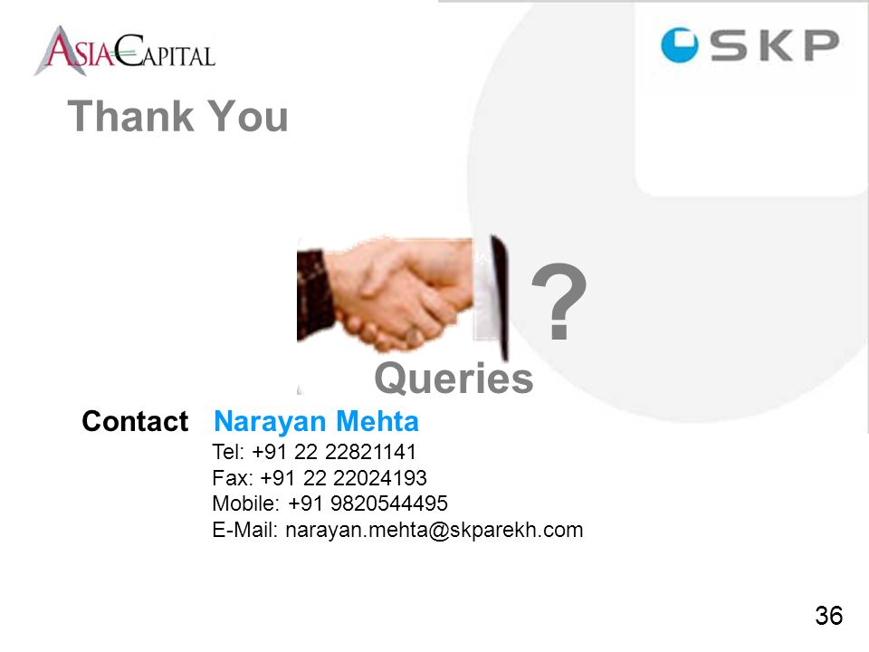 Thank You Queries Contact Narayan Mehta Tel: