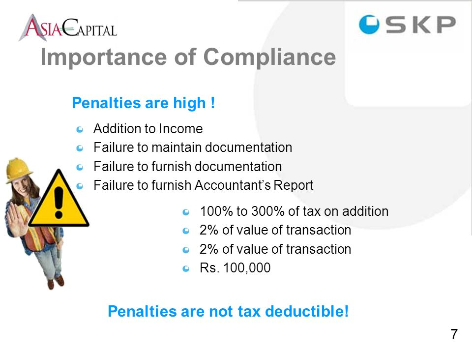 Penalties are not tax deductible!