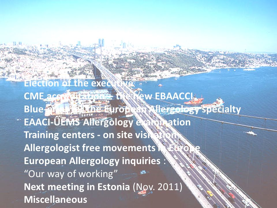 Election of the executive CME accreditation – the new EBAACCI Blue-print for the European Allergology specialty EAACI-UEMS Allergology examination Training centers - on site visitation Allergologist free movements in Europe European Allergology inquiries : Our way of working Next meeting in Estonia (Nov.