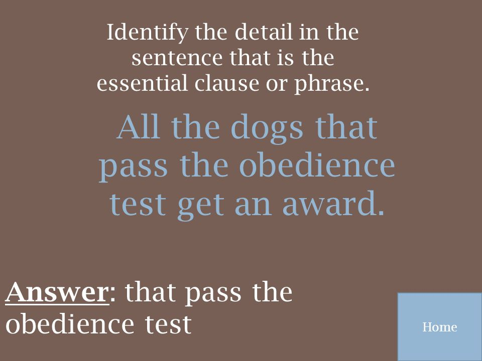 All the dogs that pass the obedience test get an award.