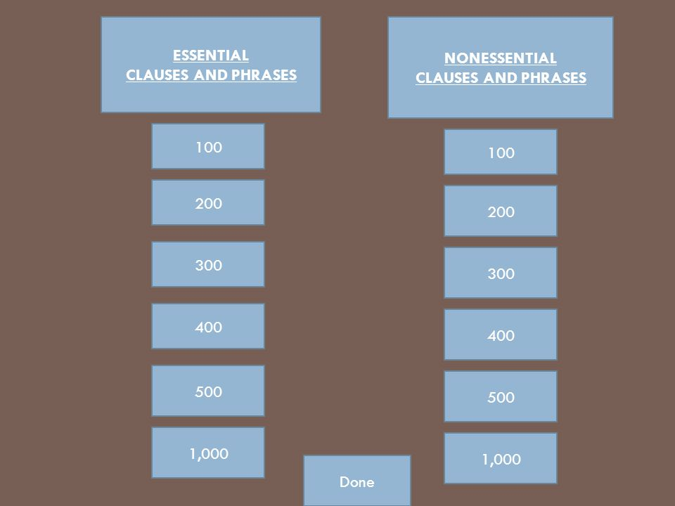 ESSENTIAL CLAUSES AND PHRASES. NONESSENTIAL. CLAUSES AND PHRASES. 100. 100. 200. 200. 300. 300.