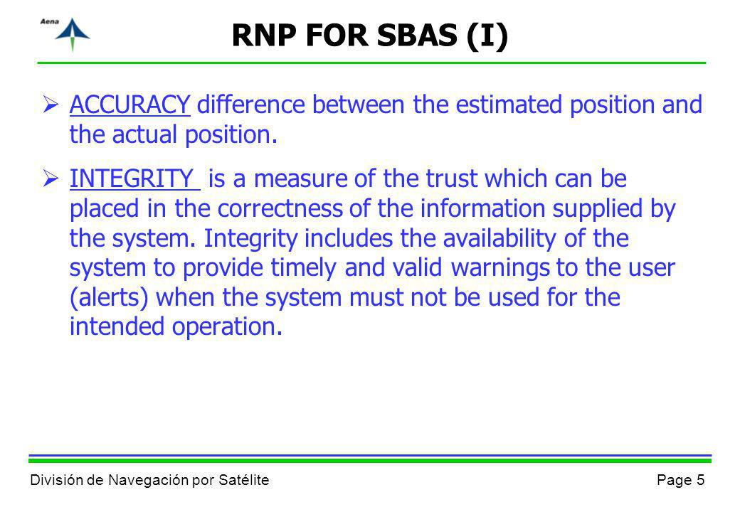 RNP FOR SBAS (I)ACCURACY difference between the estimated position and the actual position.