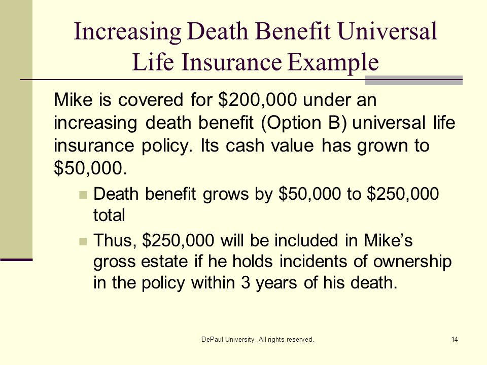 Increasing Death Benefit Universal Life Insurance Example