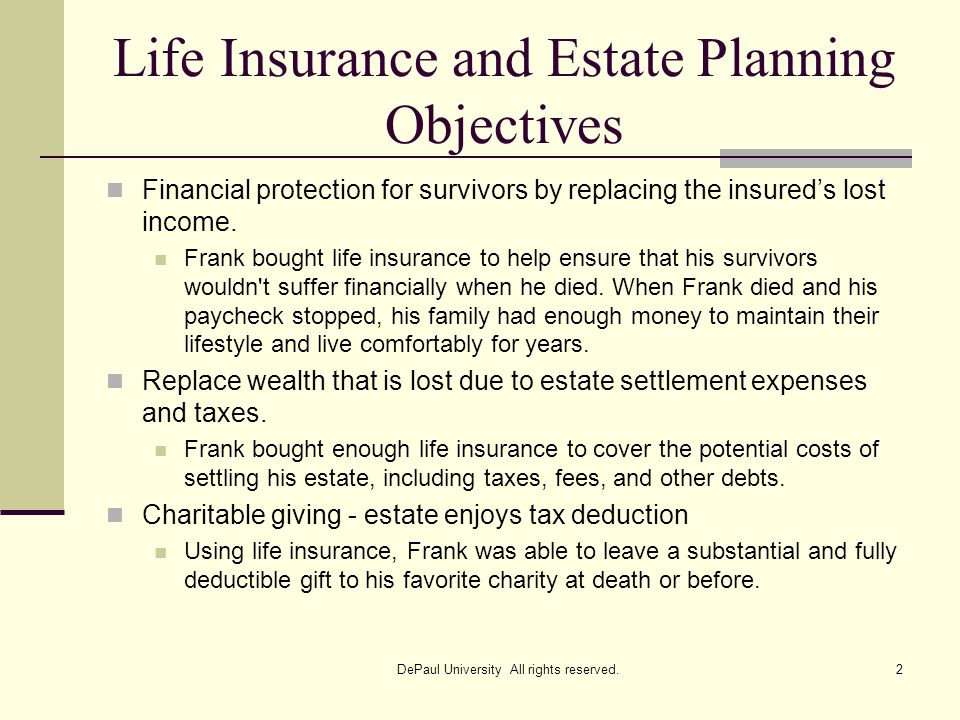 Life Insurance and Estate Planning Objectives